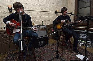 Miles Kane - Kane (right) and Alex Turner (left) performing as the Last Shadow Puppets