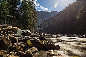 Parvati River (Himachal Pradesh) - The Moonlit Parvati River flowing beside the Kasol Town, Himachal Pradesh