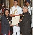 The President, Shri Pranab Mukherjee presenting the Rajiv Gandhi Khel Ratna Award to Ms. Sakshi Malik for Wrestling, in a glittering ceremony, at Rashtrapati Bhavan, in New Delhi on August 29, 2016.jpg