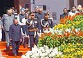 The President Dr. A.P.J. Abdul Kalam is being led in a ceremonial procession to the Central Hall of the Parliament to address the Joint Session of the Parliament in New Delhi on February 25, 2005.jpg