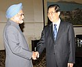 The Prime Minister, Dr. Manmohan Singh and the President of the People's Republic of China, Mr. Hu Jintao, in a bilateral meeting on the sidelines of BRICS Summit, at Sanya, China on April 13, 2011 (1).jpg