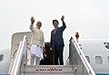The Prime Minister, Shri Narendra Modi and the Prime Minister of Japan, Mr. Shinzo Abe departing for Varanasi from Delhi on December 12, 2015 (1).jpg