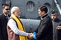The Prime Minister, Shri Narendra Modi being welcomed by the Governor of Arunachal Pradesh, Brigadier (Retd.) (Dr.) B.D. Mishra and the Chief Minister of Arunachal Pradesh, Shri Pema Khandu, in Itanagar, Arunachal Pradesh.jpg