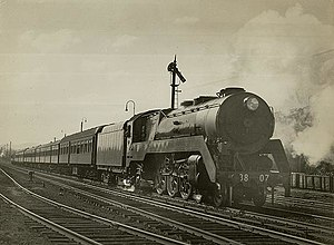 New South Wales C38 class locomotive - 3807 on The Riverina Express in 1946
