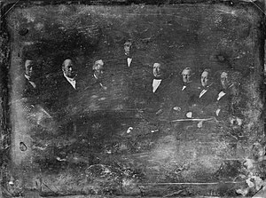 William M. Meredith - The Zachary Taylor Administration, 1849 Daguerreotype by Mathew Brady From left to right: William B. Preston, Thomas Ewing, John M. Clayton, Zachary Taylor, William M. Meredith, George W. Crawford, Jacob Collamer and Reverdy Johnson, (1849).