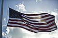 "The U.S. flag is at half-mast at Atterbury circle at Joint Base Pearl Harbor-Hickam, Hawaii, Jan. 11, 2012, during the memorial for Army Capt. Wilfred ""Fred"" Toczko before his burial at the Hawaii State Veterans 120111-F-MQ656-004.jpg"