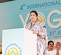 The Union Minister for Textiles, Smt. Smriti Irani addressing the participants, on the occasion of the 4th International Day of Yoga 2018, in Chandigarh on June 21, 2018.JPG
