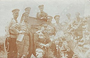 The staff of the 22nd artilery regiment of the Bulgarian army in Belasitsa mountine (1916).jpg