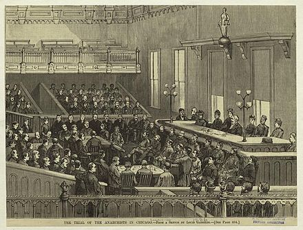 An artist's sketch of the trial, Illinois vs. August Spies et al. (1886) - Haymarket affair
