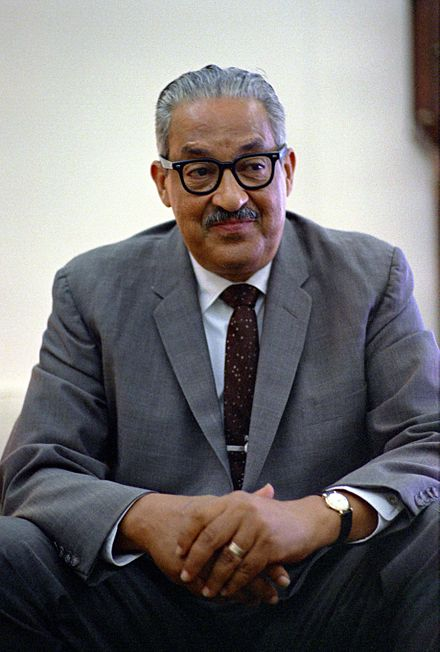 Thurgood Marshall photographed in 1967 in the Oval Office Thurgoodmarshall1967.jpg