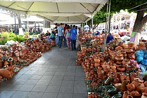 Palm Sunday Handcraft Market - Small section with pottery on the main square of Uruapan