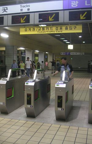 Seoul Metropolitan Subway stations - A ticket gate - Seoul, South Korea