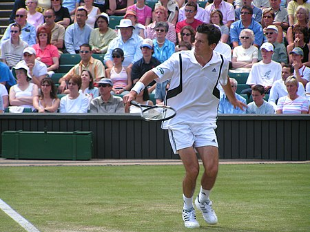 Tim Henman backhand volley Wimbledon 2004.jpg