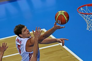 Timofey Mozgov - Mozgov playing for the Russian national team.