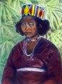 Tole-flickan Ega. På huvudet har hon en tali waloe (bamburing) överklädd med tyg och parnerad - SMVK - 1591D.tif