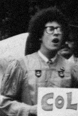 Kushner protesting at Columbia University in 1978 Tony-kushner.1978-graduation.jpg