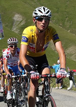 Fränk Schleck - Schleck at the 2008 Tour de France, wearing the race leader's yellow jersey.