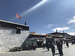 Tibetan monastery near Tsetang, Shanan prefecture, Tibet Autonomous Region, China.