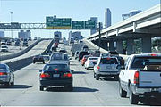 Rush hour on I-45, downtown Houston, USA.