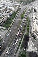 Traffic jam on Zygmunta Słomińskiego street, Warsaw
