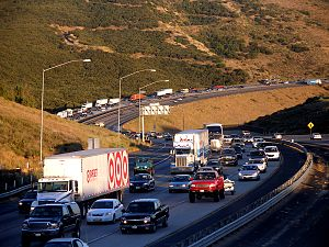Transportation demand management - Traffic congestion on Interstate 5, at Los Angeles,  California.