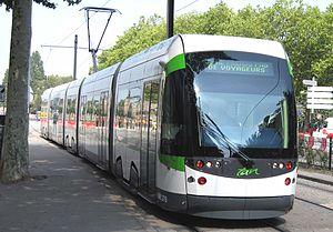 Semitan - A Nantes tramcar close to Duchesse Anne - Château station