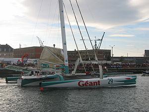 Michel Desjoyeaux - Géant Michel Desjoyeaux's multihulled boat, at the start of the Transat Jacques Vabre, Le Havre, 6 November 2005