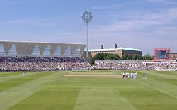 A photograph of the England cricket team playing New Zealand at Trent Bridge in 2008.