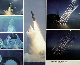 Trident (missile) - The launching of a Trident I C-4 missile from the submerged USS Francis Scott Key and the re-entry vehicles plunging into the Atlantic Ocean, 1981