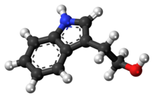 Ball-and-stick model of the tryptophol molecule