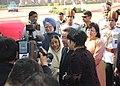 Tsakhiagiin Elbegdorj, the President, Smt. Pratibha Devisingh Patil and the Prime Minister, Dr. Manmohan Singh interacting with the media, at the ceremonial reception at Rashtrapati Bhavan, in New Delhi on September 14, 2009.jpg