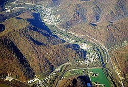 Aerial view of Warfield, Kentucky in the upper-left corner of the photo.