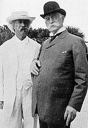 A late life friendship for each, Mark Twain and Henry Huttleston Rogers in 1908.