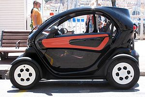 Motorised quadricycle - The Renault Twizy, electric heavy quadricycle / light city car was released to the market in Europe in 2012.