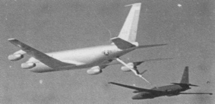 A Lockheed U-2F, the high altitude reconnaissance type shot down over Cuba, being refueled by a Boeing KC-135Q. The aircraft in 1962 was painted overall gray and carried USAF military markings and national insignia. U-2F refueling from KC-135Q.jpg