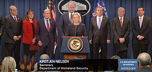 U.S. Homeland Security Secretary Kirstjen Nielsen, Acting Attorney General Matthew Whitaker, Commerce Secretary Wilbur Ross, FBI Director Christopher Wray Announces 23 Criminal Charges Against China's Huawei & Wanzhou Meng.jpg