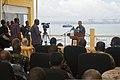 U.S. Navy Capt. Carl Isett, center, speaks to journalists during Cutlass Express 2013 at the Port of Djibouti in Djibouti Nov. 11, 2013 131111-F-NJ596-008.jpg