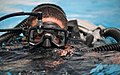 U.S. Navy diver dives to familiarize himself with underwater breathing apparatus at Bahrain.jpg