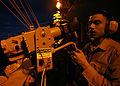 U.S Navy Damage Controlman 3rd Class Jaime Rivera tests a sensor unit on a chemical warfare directional detector aboard the nuclear-powered aircraft carrier USS John C. Stennis (CVN 74) Oct 061011-N-JL759-168.jpg