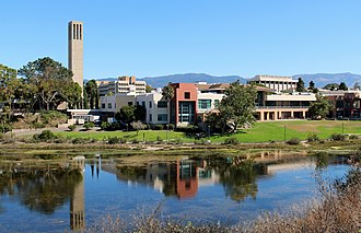 University of California, Santa Barbara. It is located to the west of the city and is a major contributor to the city and its demographic makeup. UCSB University Center and Storke Tower.jpg