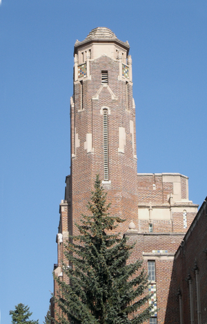 Memorial Gymnasium (University of Idaho) - Gym tower's west face