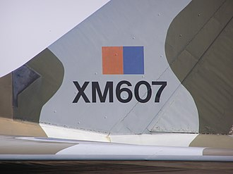 Fin flash - Low-visibility Royal Air Force fin flash on the fin of an Avro Vulcan above the aircraft serial