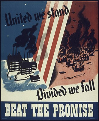 United we stand, divided we fall - World War II propaganda poster from the United States.