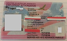 A Form I-766, Employment Authorization Document, issued to an applicant for adjustment of status by USCIS in November 2018, and noting at the bottom that the card also serves as a Form I-512 providing for Advance Parole (EAD-AP combo card).