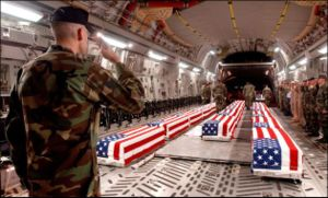 Casualties of the Iraq War - Most U.S. casualties, like these in a C-17 military transport aircraft, return to Dover Air Force Base in Dover, Delaware. (unknown date)