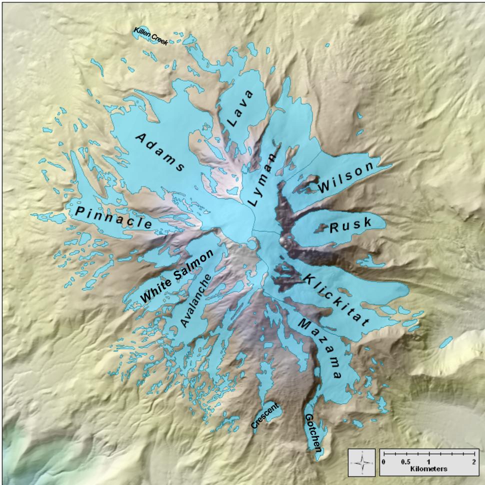 USGS Glaciers of Mount Adams Map