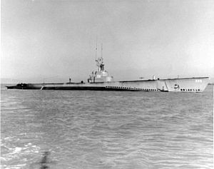 Capitaine (SS-336), probably off the coast of California, 1947.