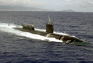USS Greeneville (SSN-772) off the coast of Honolulu, Hawaii.