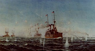 "Battle of Manila Bay - ""Battle of Manila Bay, 1 May 1898"", painting by Fred S. Cozzens. The U.S. battle line turning while in action, with USS Olympia leading."