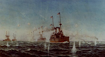 """Battle of Manila Bay, 1 May 1898"", painting by Fred S. Cozzens. The U.S. battle line turning while in action, with USS Olympia leading. USS Olympia NH NH 85768-KN.jpg"